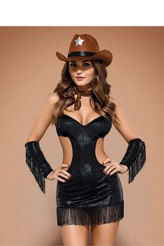 A sexy sheriff costume that can be added to your lingerie collection or used as a halloween costume. Sexy Cowgirl, Style Cowgirl, Dessous Shop, Vaquera Sexy, Costume Sexy, Costume Halloween, Obsessive Lingerie, Peplum Dress, Bodice