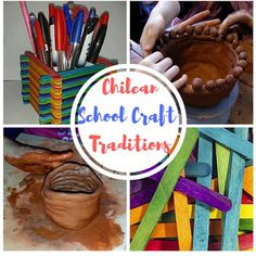 Traditional Crafts in Chile. Two different kind of materials used at school and fun!