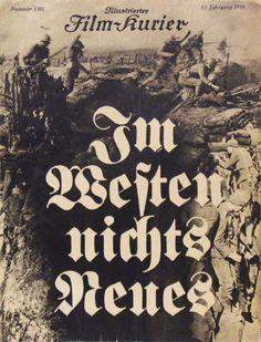 Im Westen nichts Neues  Filmzeitschrift Illustrierter Film-Kurier (Nr. 1501) zu dem Spielfilm nach dem Roman von Erich Maria Remarque Berlin, 1930