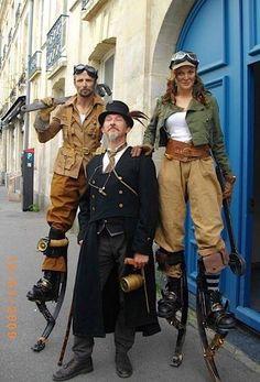 Steampunk Inspired cosplay ideas. Photo: Loving the stilts https://www.steampunkartifacts.com