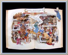 Alice in Wonderland 1916 First Edition - Book Sculpture - Altered Book with Milo Winter Illustrations - Shadowbox FRAMED