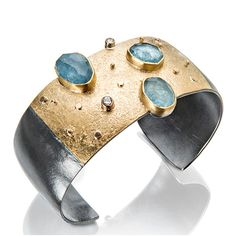 Cuff bracelet | Sydney Lynch.  Sterling with patina, aquamarines, diamonds, 18k & 22k gold