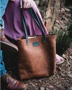 Zaria, genuine leather tote by Wanderer Handcrafted Leather.