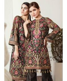 Buy Baroque Chantelle Embroidered Chiffon Collection – 08 - Lumina at YourLibaas. Shop online for Original Pakistani Party Wear Chiffon Suits. Pakistani Designer Suits, Pakistani Dress Design, Pakistani Outfits, Indian Outfits, Pakistani Mehndi, Eid Outfits, Desi Clothes, Asian Clothes, Anarkali Dress