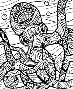 If you love coloring animals, then this is the book for you! Our Wild Animals coloring book for adults was designed in a Zentangle inspired style. All 50 pages are packed with original hand drawn desi Octopus Coloring Page, Mandala Coloring Pages, Animal Coloring Pages, Coloring Book Pages, Printable Coloring Pages, Coloring Sheets, Mandalas Painting, Mandalas Drawing, Zentangles