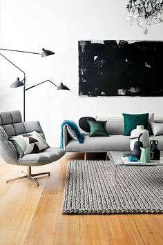 Black, grey & mint
