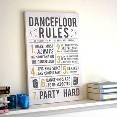 party dance floor rules canvas print by oakdene designs | notonthehighstreet.com