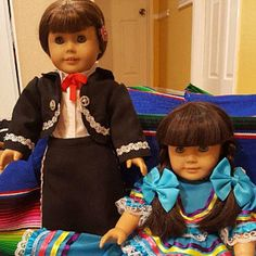 Mariachi charra suit traje black gabardine gold trim fits 18 in like American Girl doll Folklorico Dresses, Mariachi Suit, Boy Doll, American Girl, Dress Up, Dolls, Suits, Fitness, Cotton