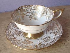 Antique Royal Stafford gold grapes tea cup set by ShoponSherman Tea Pot Set, Tea Sets, Cup And Saucer Set, Tea Cup Saucer, Mrs Teapot, Royal Stafford, Cream Tea, Vintage Tableware, China Tea Cups