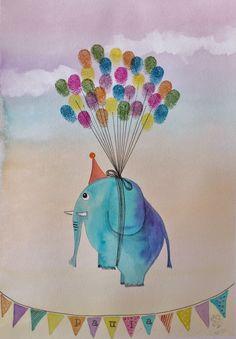 Watermarycolors: Elefantes de huellas dactilares