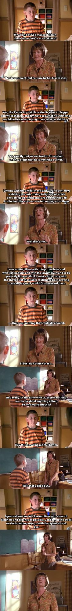 Dewey, god, smiting, ants, malcolm in the middle