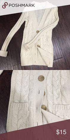 Ivory cable cardigan size small Cute cable cardigan with large buttons and front pockets ! Excellent condition Sweaters Cardigans