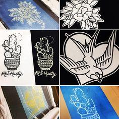 A few designs screen printed for True Tattoo! #screenprinting #tshirt #swallow #cactus