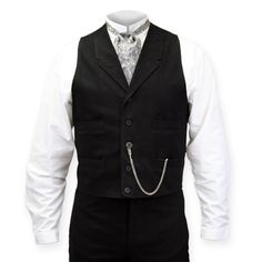 Victorian Mens Black Cotton Solid Notch Collar Dress Vest | Dickens | Downton Abbey | Edwardian || Livingston Black Brushed Cotton Vest