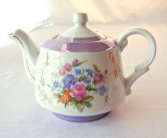 China Teapot Iridescent Lavender Glaze with by CandyAppleCrafts