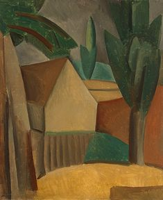 House in a Garden     Artist: Pablo Picasso  Completion Date: 1908  Style: Analytical Cubism  Period: African Period  Genre: landscape  Technique: oil  Material: canvas  Dimensions: 73.6 x 60.5 cm  Gallery: Hermitage, St. Petersburg, Russia