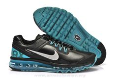 hot sale online 81e28 e4813 pas cher Femmes Chaussures Nike Air Max 2013 Leather Noir Reflective Argent  Sport Turquoise New Nike