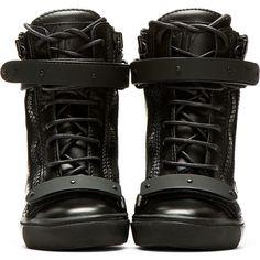 Giuseppe Zanotti Black Leather Wedge Lorenz High_Top Sneakers