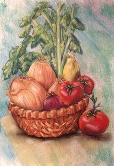 Celery in a basket pastel on high rag paper
