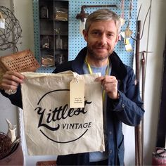 martin freeman in the store yesterday...talking film + ever so casually holding his new favourite tote. ha. what a sport.