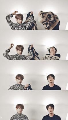 Taehyung then there's jin Seokjin, Namjoon, Foto Bts, Bts Taehyung, Bts Bangtan Boy, Bts Memes, Taekook, Kpop, V And Jin