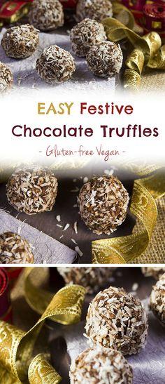 Festive Chocolate Truffles #healthyholidays #vegan #glutenfree #plantbased