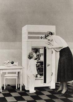 Erste Kompressorkühlschränke in den 40er Jahren. Mehr von Mutti auf 40.unserjahrgang.de