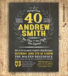 Surprise 40th birthday invitation personalized for your 40th