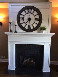 Joanna Gaines inspired fireplace mantel. Pine shiplap.