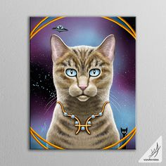 This canvas shows a Zodiac Cat celebrating the Sign of Pisces. In the artwork you will find: The Pisces Constellation of stars. - The Fish symbol embedded in a gold necklace. - March birthstone gems t