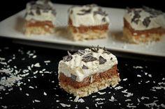 Mod de preparare Prajitura cu ciocolata si blat de cocos: Blat: Albusurile se bat spuma tare cu un praf de sare. Se adauga zaharul si se mixeaza pana spuma devine lucioasa si se tine bine de paletele mixerului. Se aromeaza dupa gust cu esenta de vanilie, se toarna in ploaie…