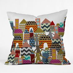 Sharon Turner Geo Town Throw Pillow   DENY Designs Home Accessories  #geometric #town #geo #deny #denydesigns #sharonturner #polkadot #spot #chevron #bold #architecture #cute #kids #home #pillow #cushion