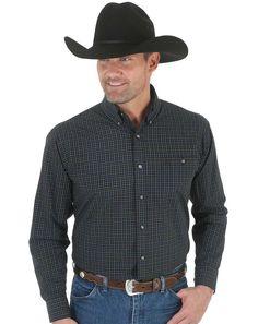 Wrangler Men's Long Sleeve Plaid Button Down Shirt - Black (Closeout)
