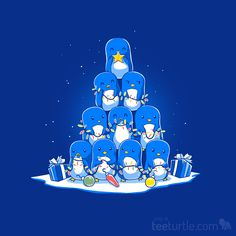 """Now that's a bright idea. (˘ε ˘)♬♪♫ Pre-order """"O Penguin Tree"""" now for just $12 and get it just in time for the holiday season. 48 HOURS ONLY: http://www.teeturtle.com/products/o-penguin-tree"""