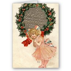 1910 A Merry Christmas Vintage Greeting Card
