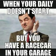 Like Hmmmmmm. think I'll drive racecar today. Truck Quotes, Truck Memes, Funny Car Memes, Hilarious, Car Guy Memes, Ford Memes, Funny Cars, Car Jokes, Car Humor