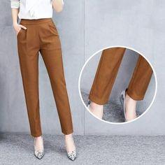 Women Mid Waist Solid Pencil Pants Elastic Waist Pocket Office Lady St – rricdress