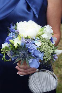Flower Design Events: Blue Bridesmaids Bouquet