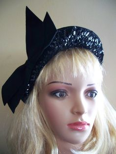 CLARICE black hat with sequins 40s hat by MarlenesVintageAttic