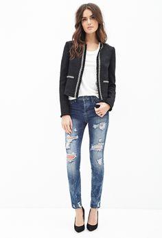 Collarless Beaded Tweed Jacket   FOREVER21 - 2000082046