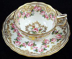 4:00 Tea...Copeland...teacup and saucer with petite roses