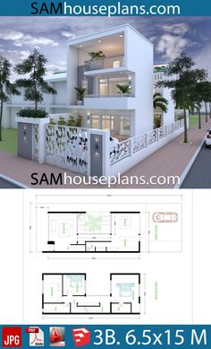 House Plans with 3 Bedrooms - Sam House Plans Town House Plans, Bungalow House Plans, Dream House Plans, Small House Plans, 3 Room House Plan, Bedroom House Plans, Modern House Floor Plans, Modern House Design, Best Small House Designs
