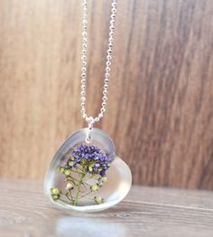 heart necklace, resin pressed flower jewelry