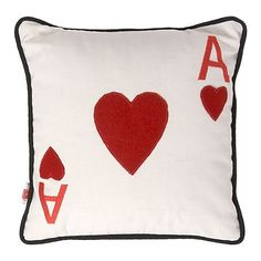 Cream ace of hearts cushion - Cushions - Bedding - Home & furniture -