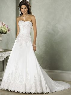 Wedding Dresses Pictures - Princess Strapless Sweetheart Scalloped-Edge Satin Wedding Dress - Style WD2209