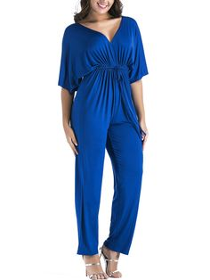 9c5e3a9f4e3 Deep V-Neck Drawstring Plain Empire Straight Jumpsuit -  CheapClothingCity.com Empire