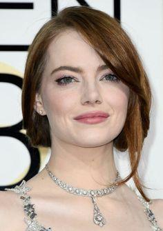 Emma Stone makeup perfection at Golden Globes 2017 by Rachel Goodwin
