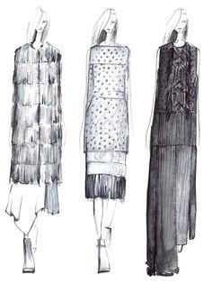 Fashion Sketchbook - fashion illustration lineup; fashion portfolio inspiration // Tess Giberson