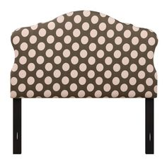 Charming curves add whimsical style to the Dana Upholstered Headboard . Oversized pink polka dots on chocolate brown fabric upholstery and. Nailhead Headboard, Bed Frame And Headboard, Upholstered Beds, Nailhead Trim, Pink Headboard, Living Room Seating, Metal Beds, Sweet Style, Pink Polka Dots