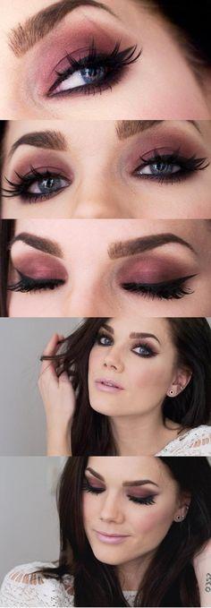 Digamos assim que eu AMO maquiagens que evidenciam olhos claros! E chega de só preto, vamos investir nas cores levadas para o tom beringela. Chique e glam! Vamos nos inspirar?